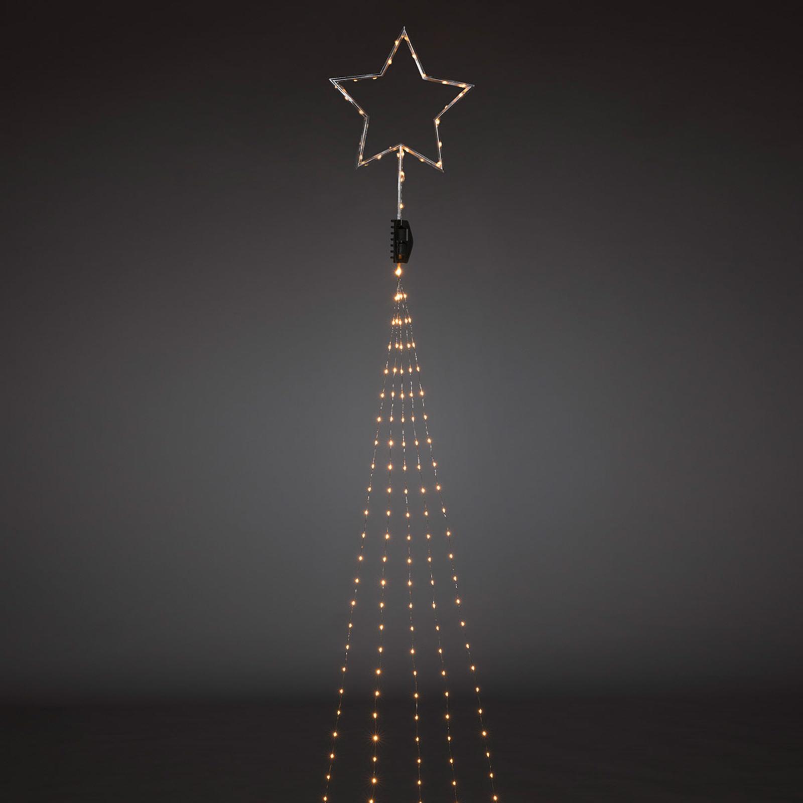 Toppstjärna i silver – LED-julgransslinga 274 ljus