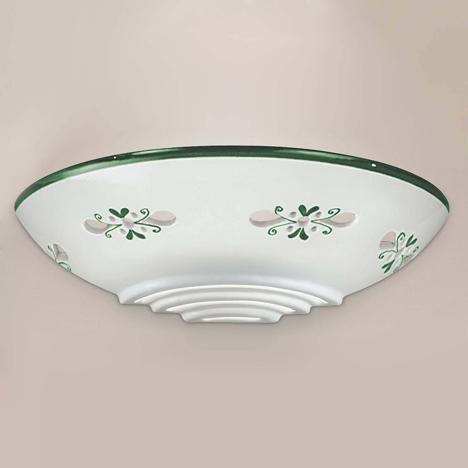 Bassano - mooie keramiek wandlamp, groen