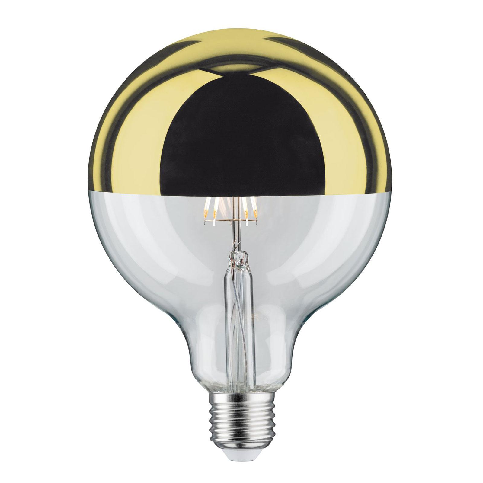 LED-Lampe E27 G125 827 6,5W Kopfspiegel gold