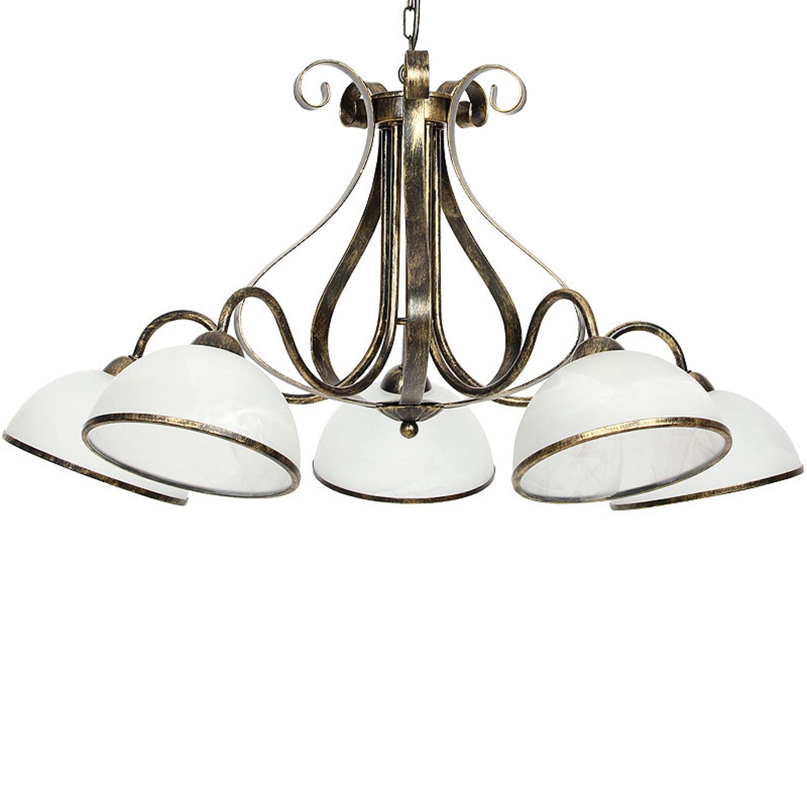 Hanglamp Antica in landhuisstijl, 5-lamps
