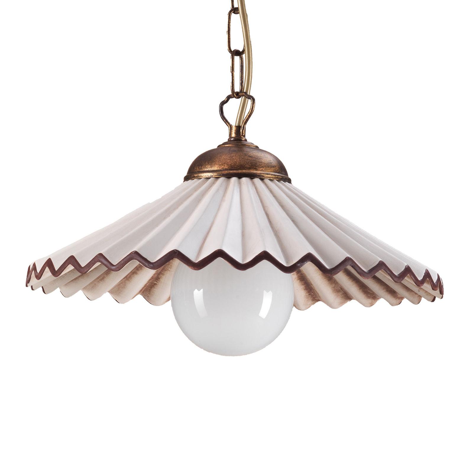 Suspension Rosina à 1 lampe rose clair/bronze