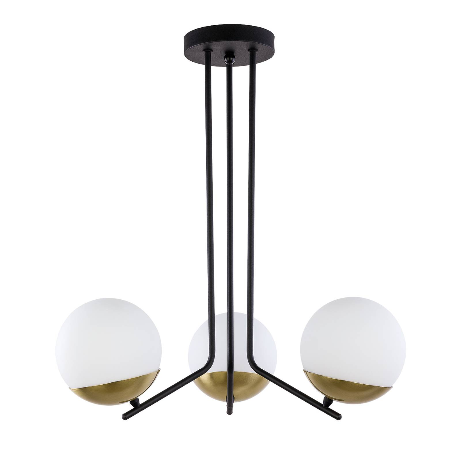 Suspension Torbole, opale/laiton, à 3 lampes