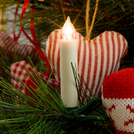 Bougies d'arbre Noël sans fil extension, 8cm 5l.