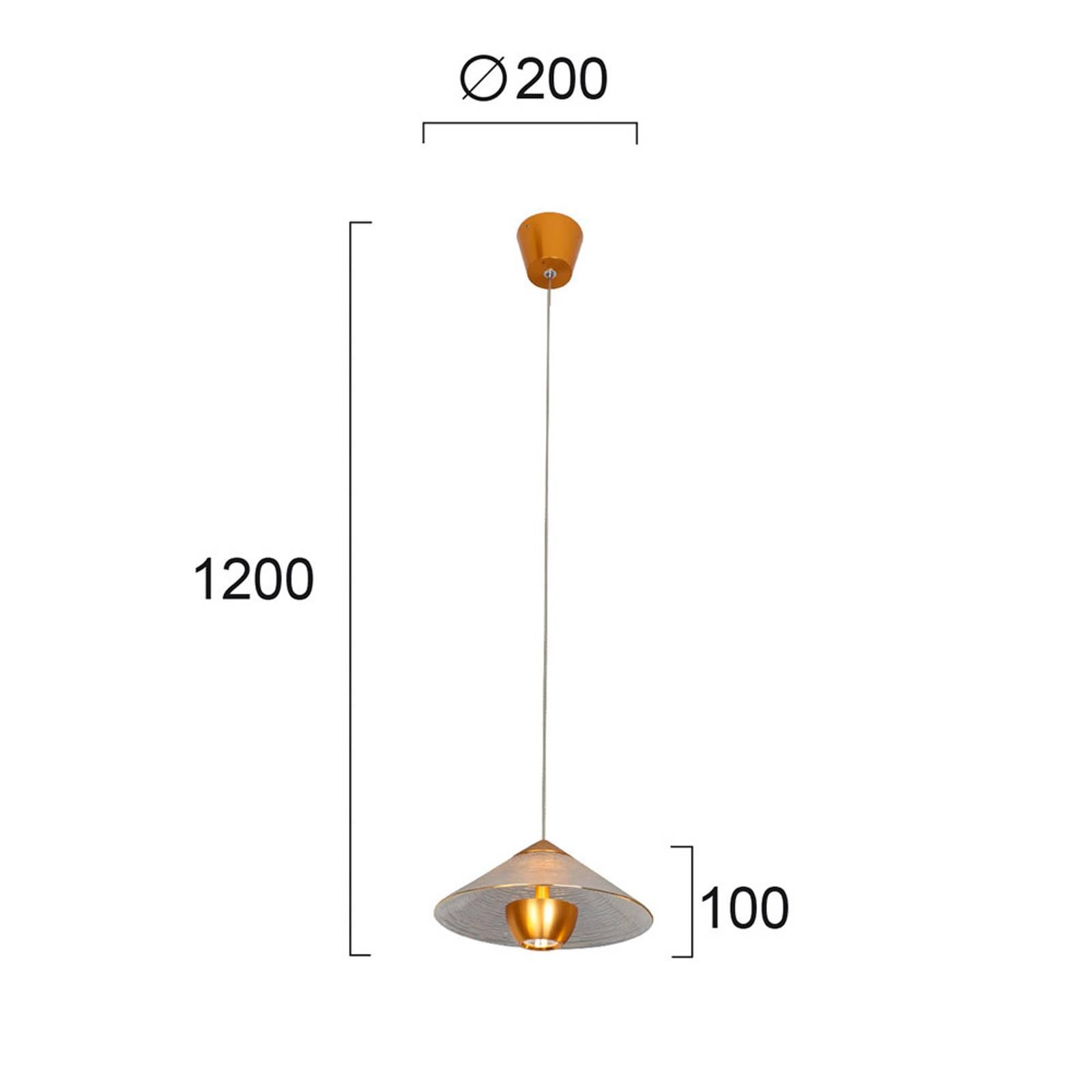 Lampa wisząca LED Glamour ze szkła, złota