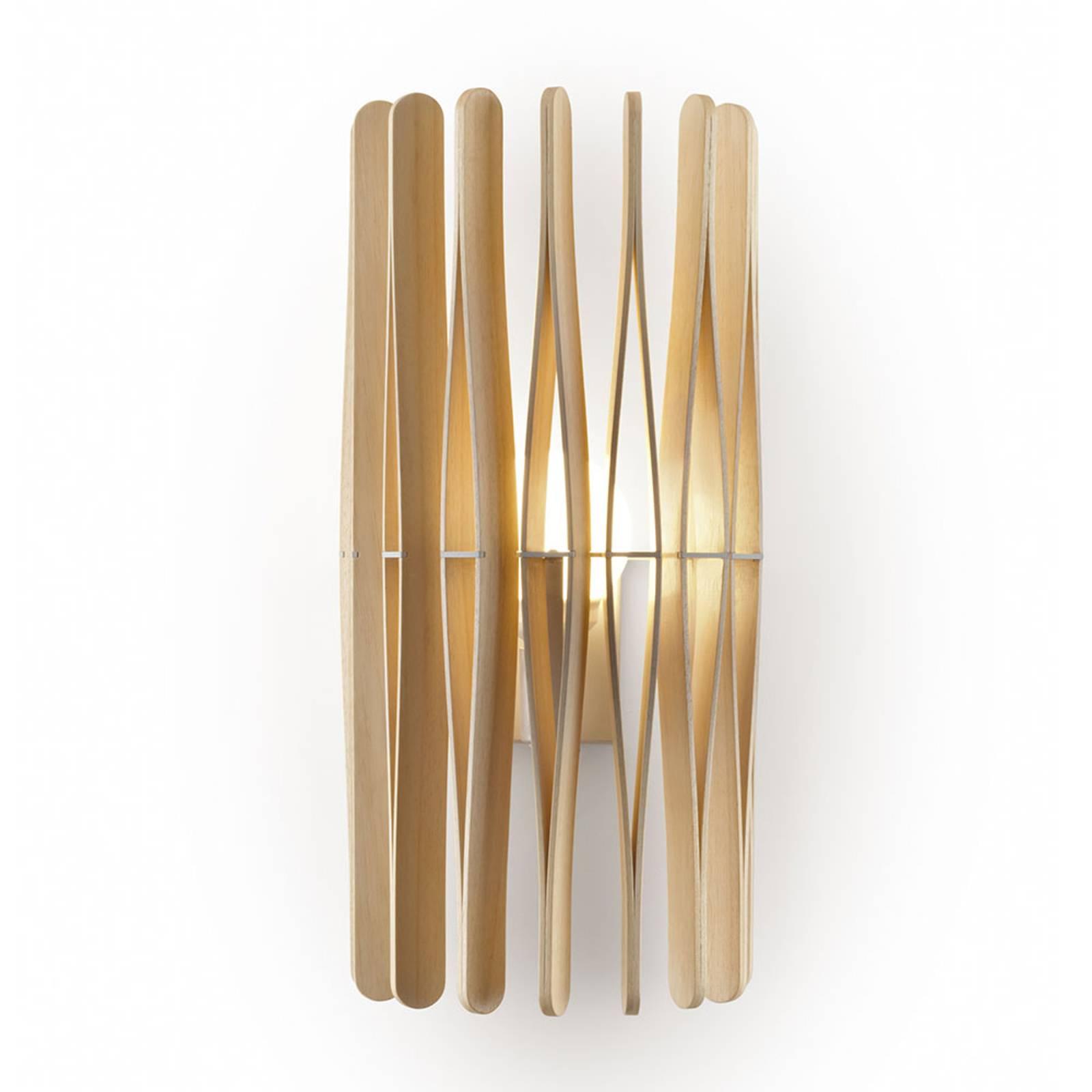 Fabbian Stick houten wandlamp, cilindervormig
