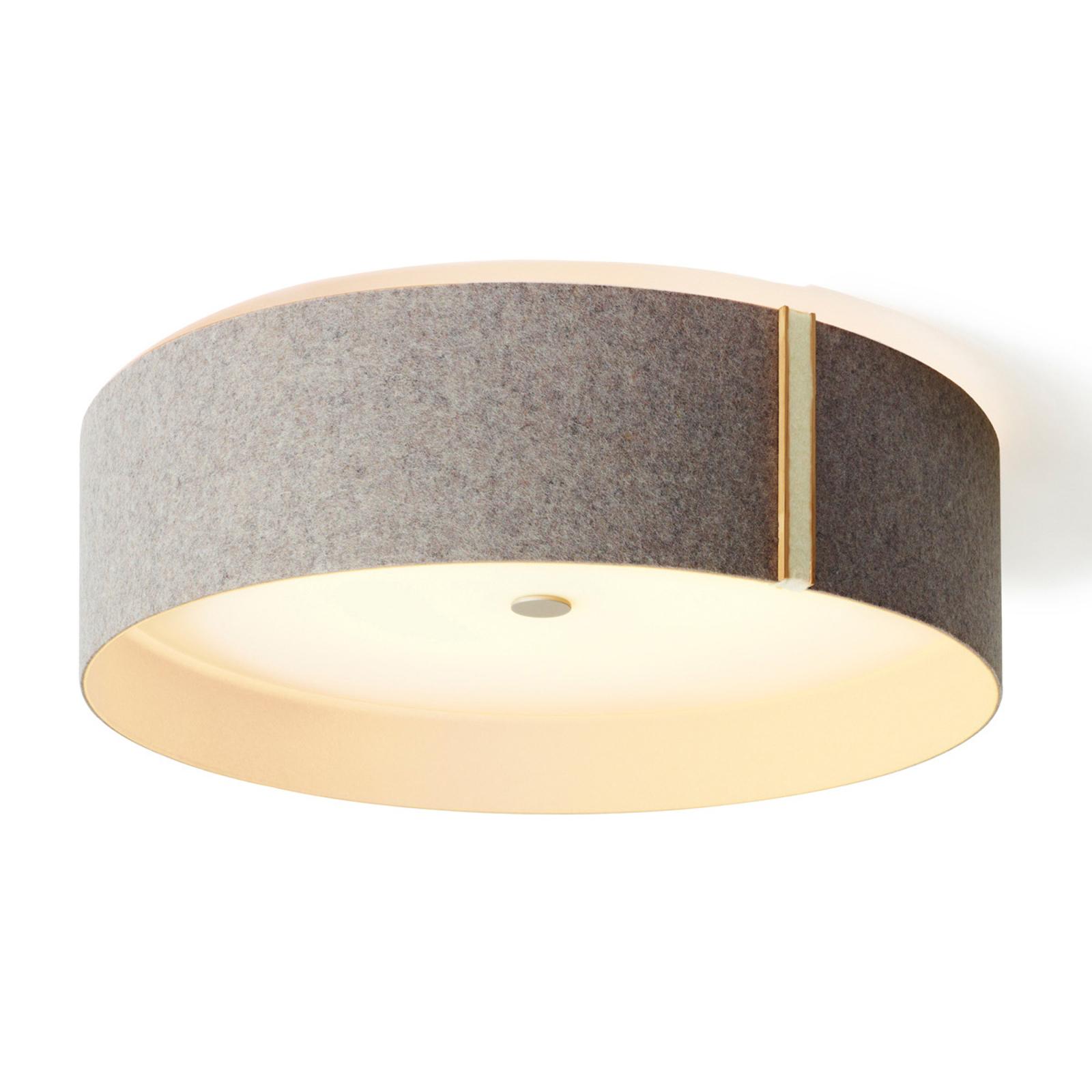 Vilten plafondlamp Lara felt met LED, grijs wolwit