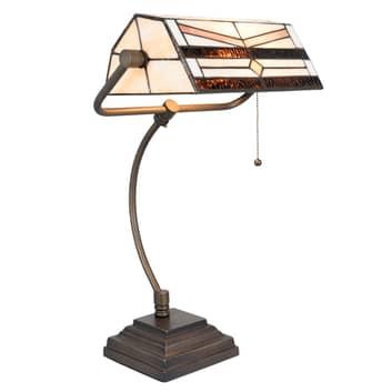 Bureaulamp 5193 in Tiffany-design, crème