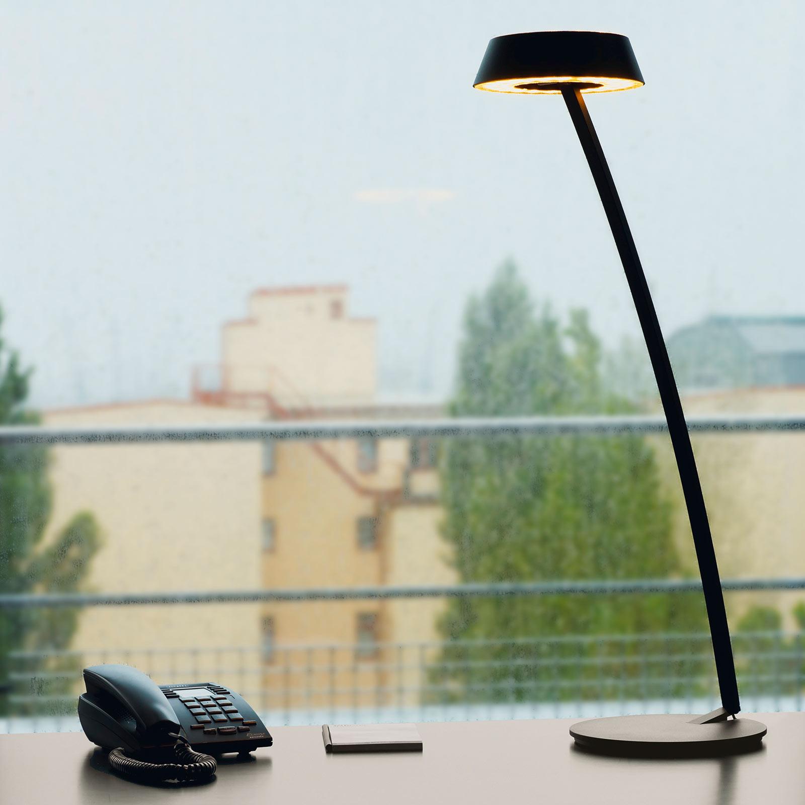 OLIGO Glance LED tafellamp gebogen mat zwart