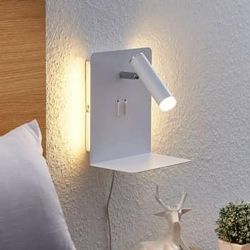 Lucande Zavi foco de pared con estante, USB blanco