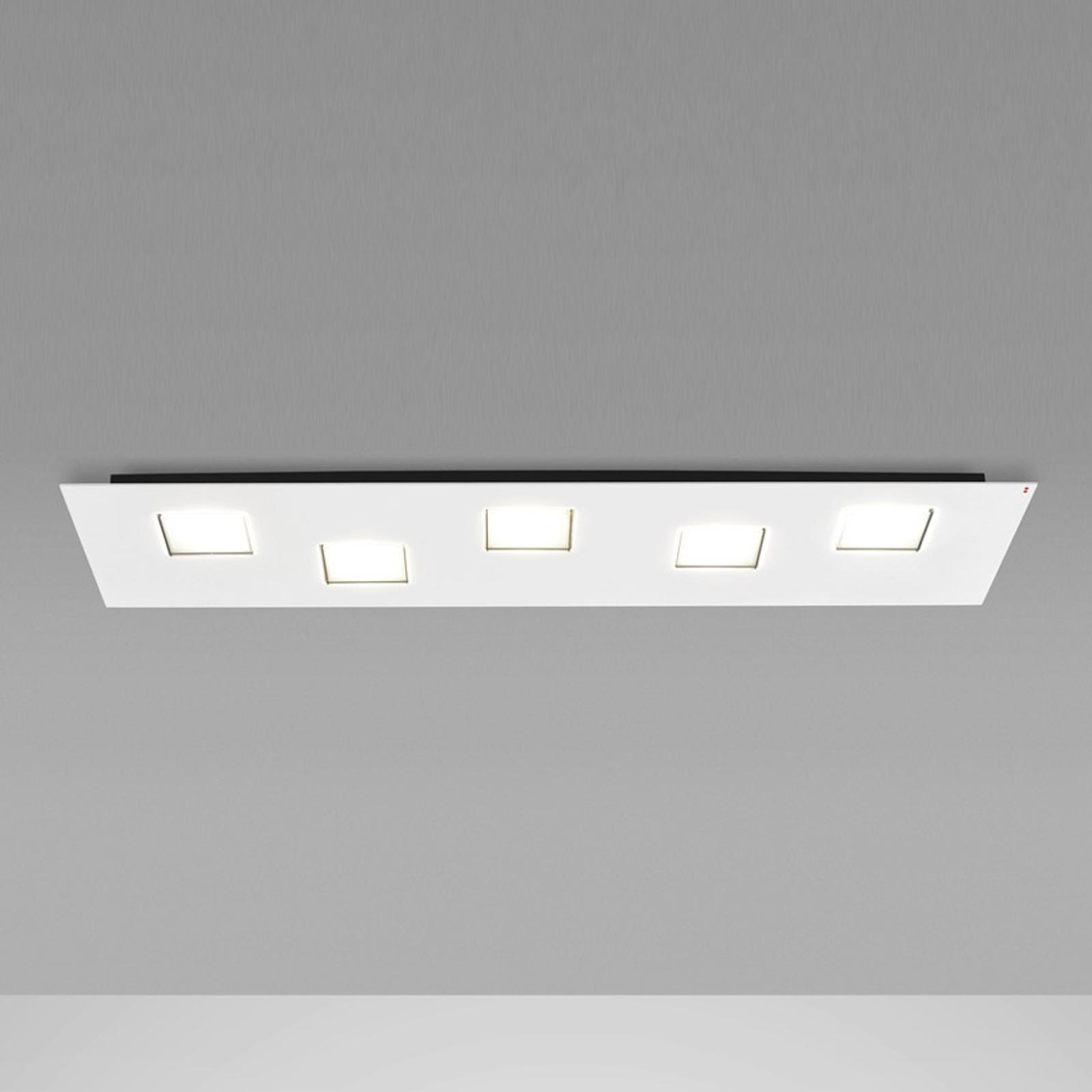 Langwerpige LED plafondlamp Quarter in wit