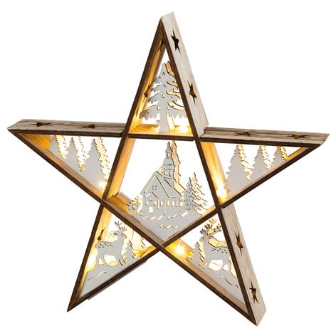 Estrella LED de madera, funciona con pilas