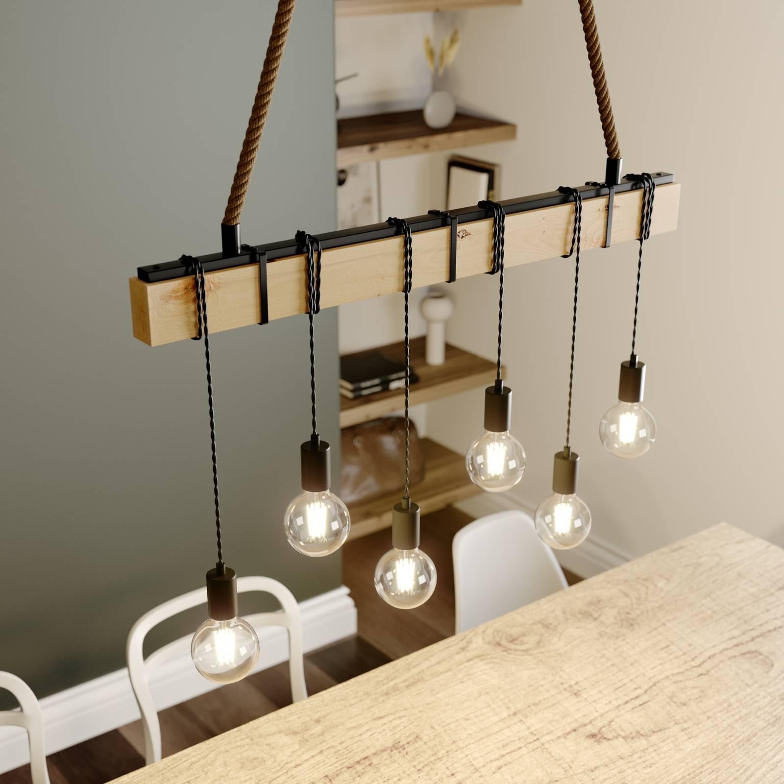 Balk hanglamp Cintia met hout, 6-lamps
