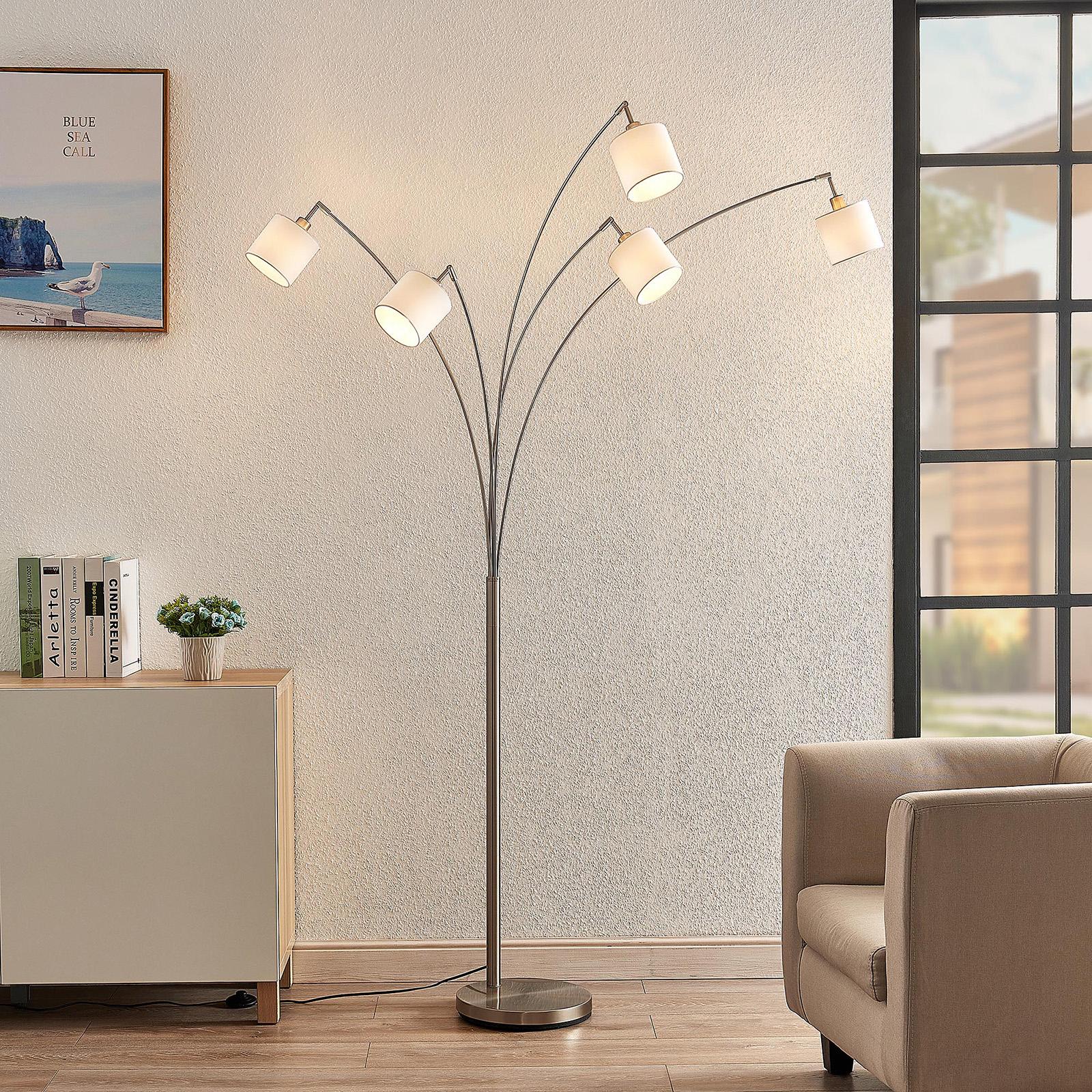 Lindby Stannis lámpara de arco, textil cinco luces