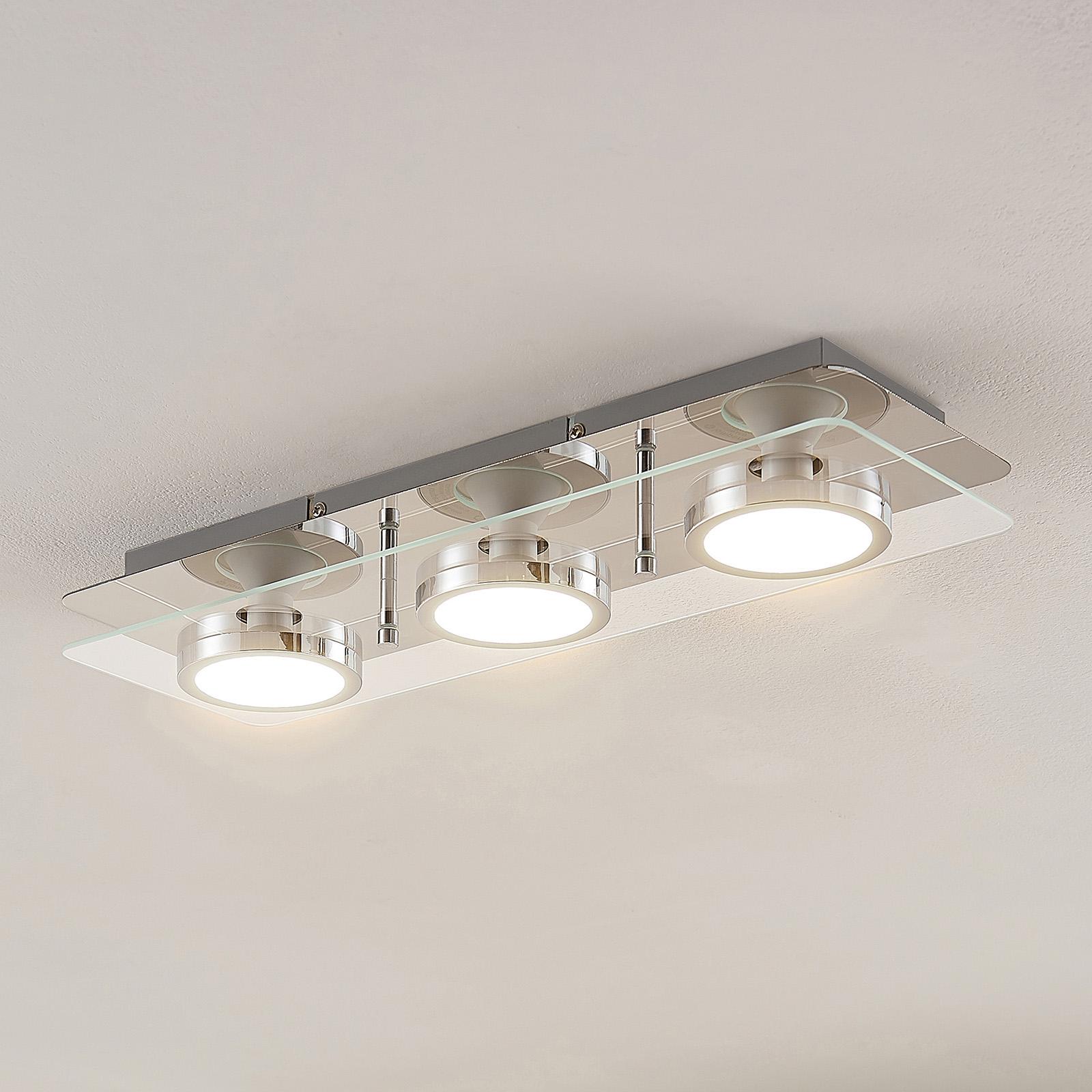 Lindby Gabryl LED-Deckenleuchte, dreiflammig, lang