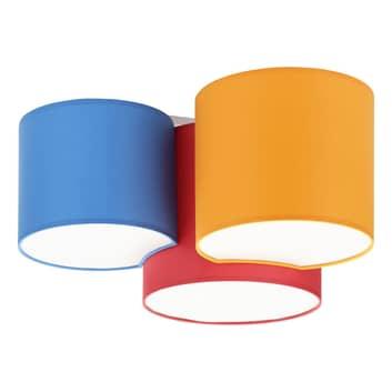 Plafoniera Mona 3 luci, rosso/arancione/blu