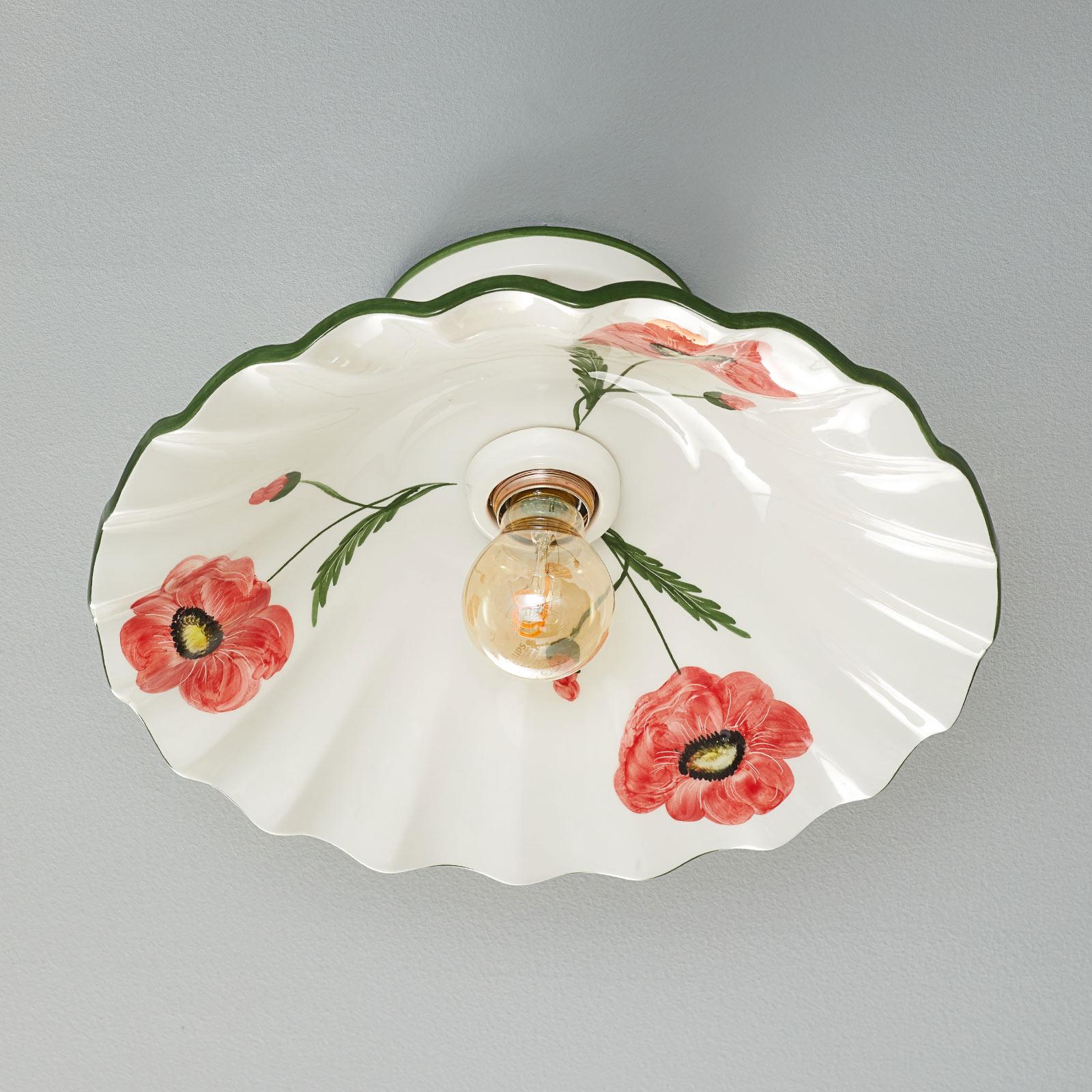 Stilfull keramiktaklampa Papaveri