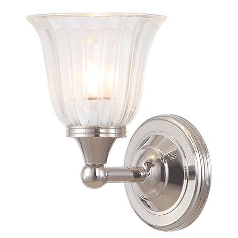 Solide bewerkte badkamerlamp Austen nikkel