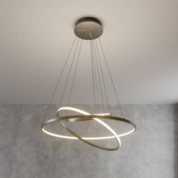 LED závěsné světlo Ezana ze tří prstenců, nikl