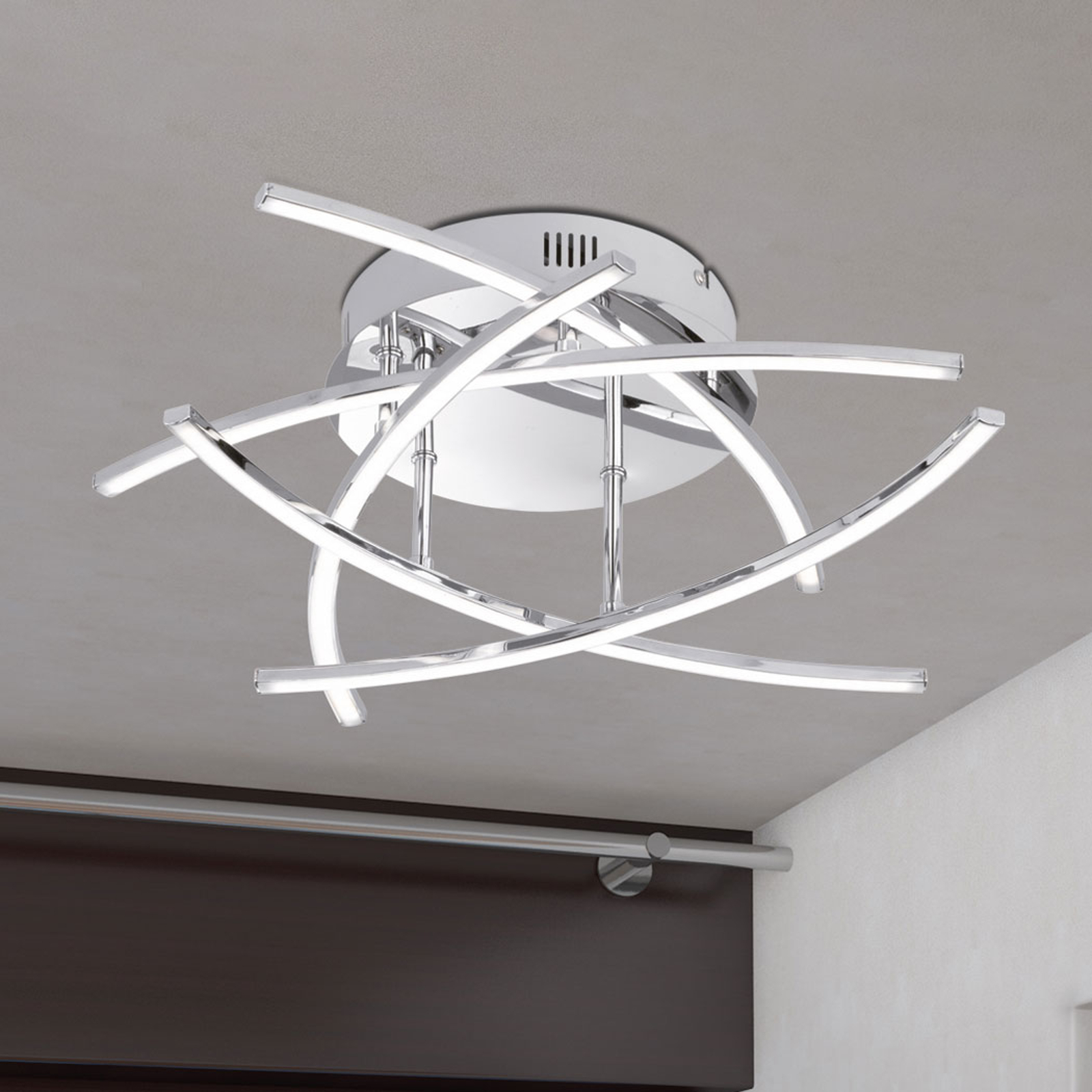 LED-Deckenlampe Cross 5-flammig, chrom