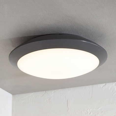 LED buiten plafondlamp Naira, grijs, m. sensor