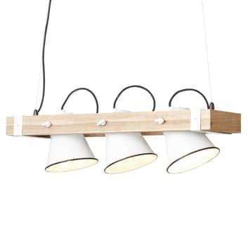 Závěsné světlo Plow 3 zdroje, bílá dřevo světlé