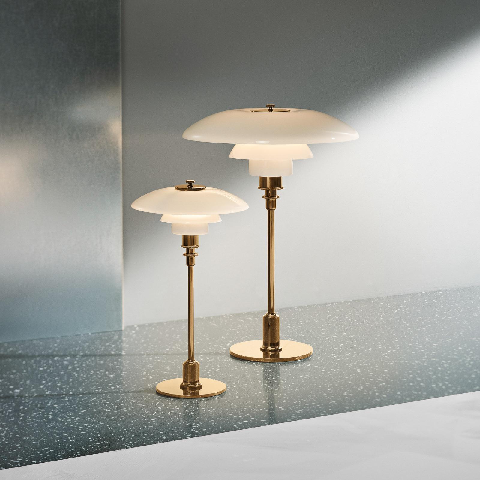 Louis Poulsen PH 2/1 tafellamp messing wit
