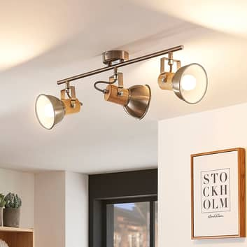 Stropní LED světlo Dennis se dřevem, 3bodové