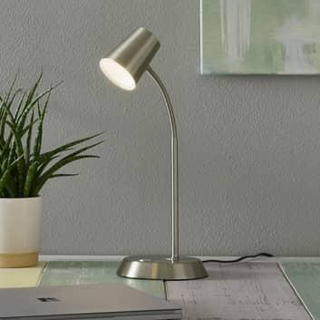 Lampada da tavolo LED Narcos nichelata