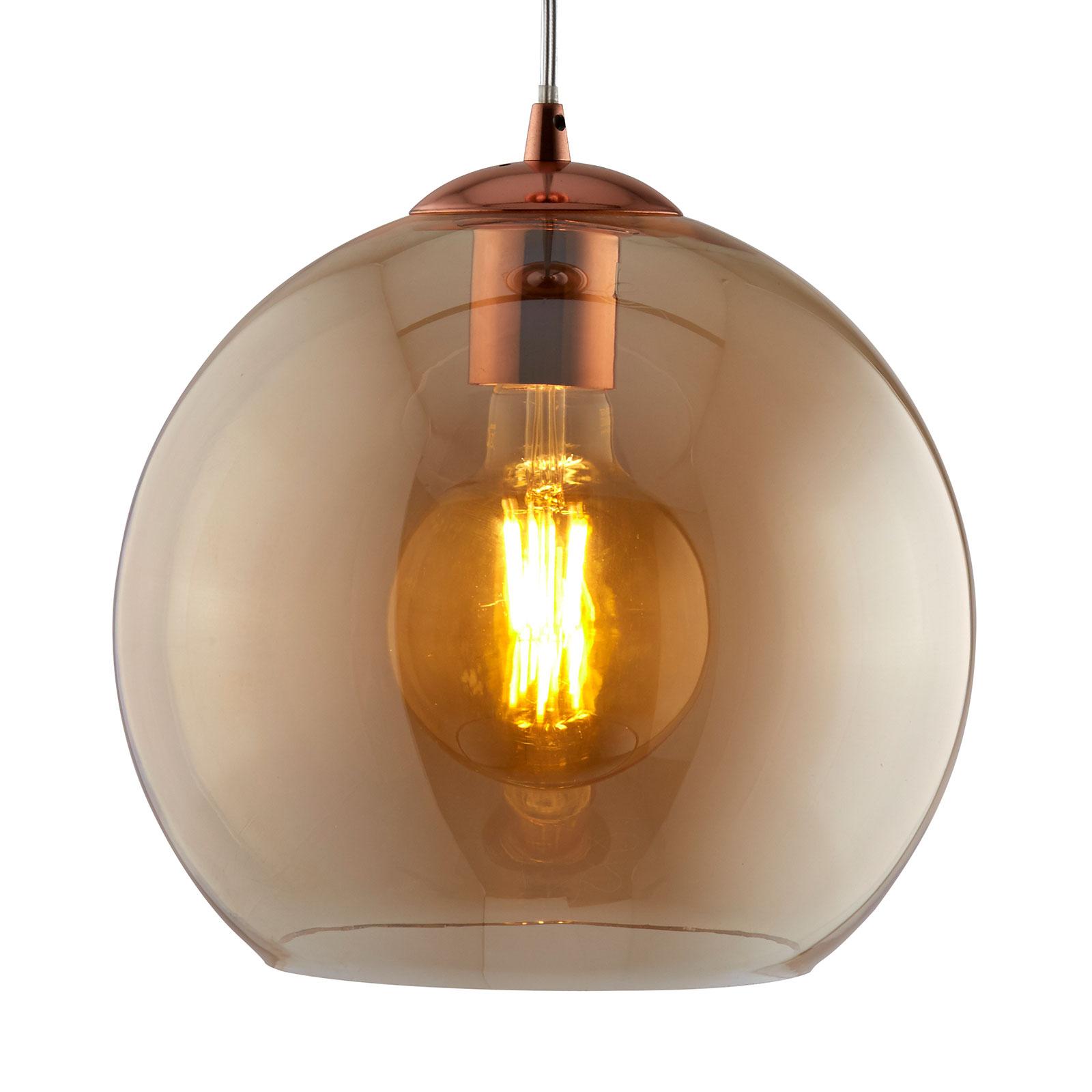 Lampa wisząca Balls, szklane kule bursztyn 35cm