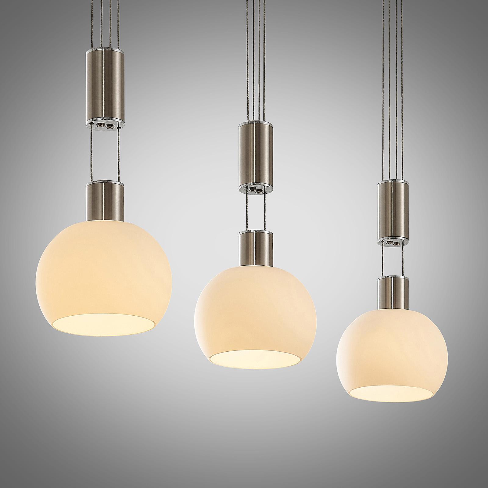 Lindby Aurell lámpara colgante LED, 3 luces níquel