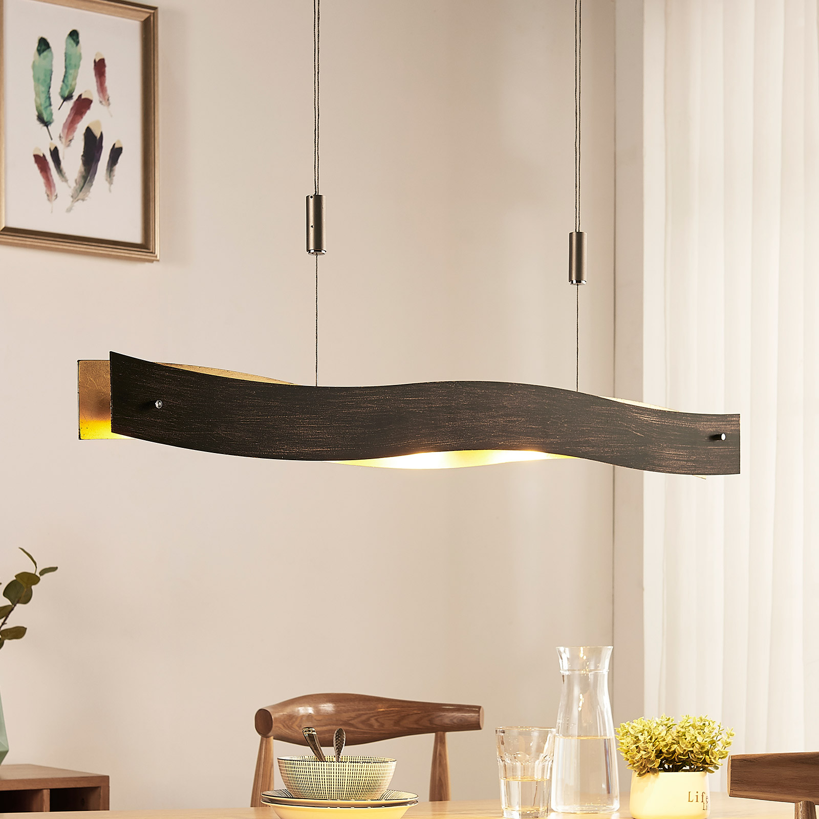 Dimbar LED-pendellampe Ebu, svart- gull